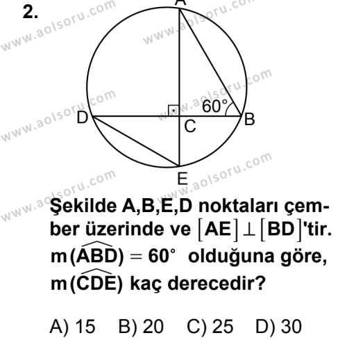 Geometri 6 Dersi 2014 - 2015 Yılı 2. Dönem Sınav Soruları 2. Soru