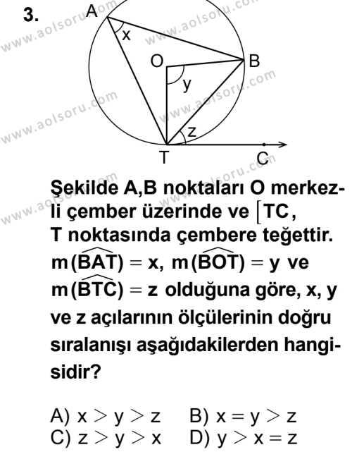 Geometri 6 Dersi 2014 - 2015 Yılı 2. Dönem Sınav Soruları 3. Soru