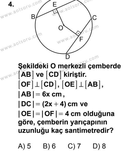 Geometri 6 Dersi 2014 - 2015 Yılı 2. Dönem Sınav Soruları 4. Soru
