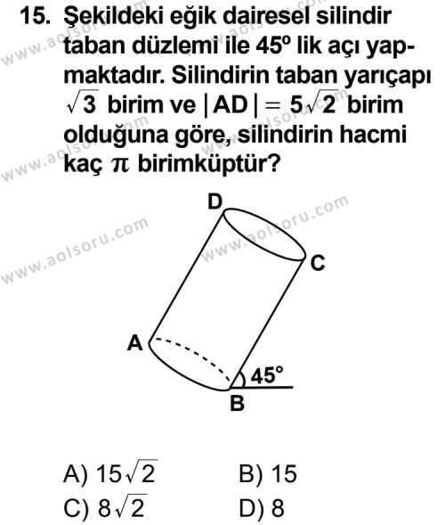 Geometri 7 Dersi 2011-2012 Yılı 1. Dönem Sınavı 15. Soru