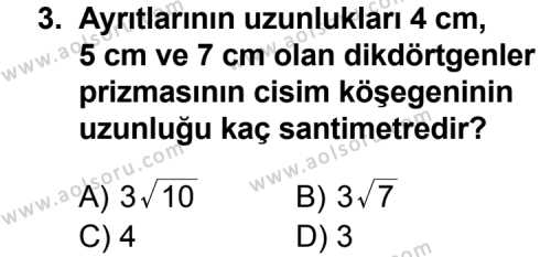 Geometri 7 Dersi 2013 - 2014 Yılı 1. Dönem Sınav Soruları 3. Soru