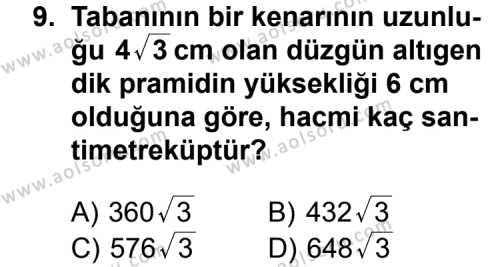 Geometri 7 Dersi 2013-2014 Yılı 1. Dönem Sınavı 9. Soru