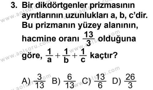 Geometri 7 Dersi 2013 - 2014 Yılı 2. Dönem Sınav Soruları 3. Soru