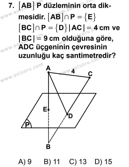 Geometri 8 Dersi 2011-2012 Yılı 1. Dönem Sınavı 7. Soru