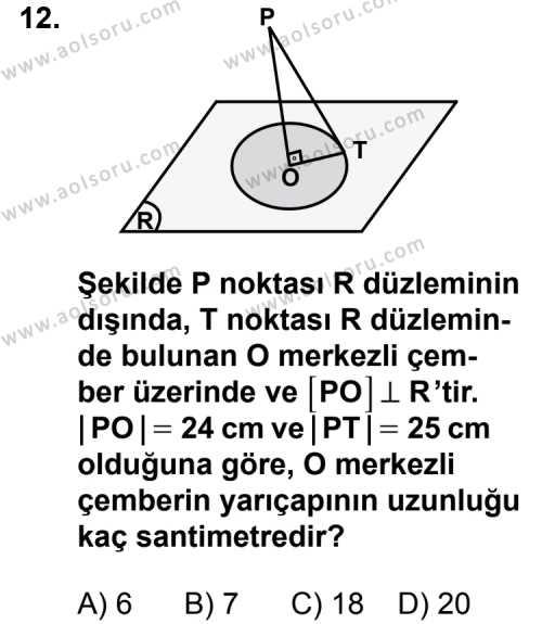 Geometri 8 Dersi 2012-2013 Yılı 1. Dönem Sınavı 12. Soru