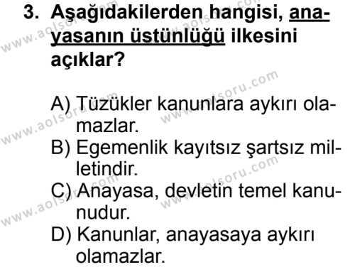 Hukuk 1 Dersi 2013 - 2014 Yılı 1. Dönem Sınav Soruları 3. Soru