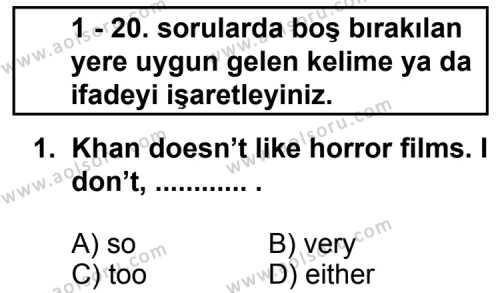 İngilizce 1 Dersi 2011 - 2012 Yılı 2. Dönem Sınavı 1. Soru
