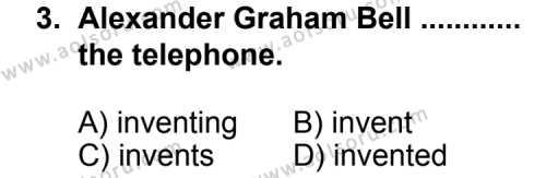 İngilizce 1 Dersi 2011 - 2012 Yılı 2. Dönem Sınavı 3. Soru