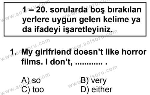 İngilizce 1 Dersi 2011 - 2012 Yılı Ek Sınavı 1. Soru
