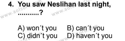 İngilizce 1 Dersi 2012 - 2013 Yılı Ek Sınavı 4. Soru