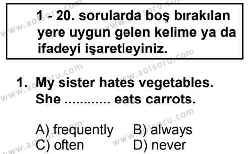 İngilizce 1 Dersi 2013 - 2014 Yılı 2. Dönem Sınav Soruları 1. Soru