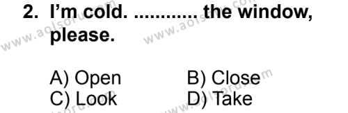 İngilizce 1 Dersi 2013 - 2014 Yılı 2. Dönem Sınav Soruları 2. Soru