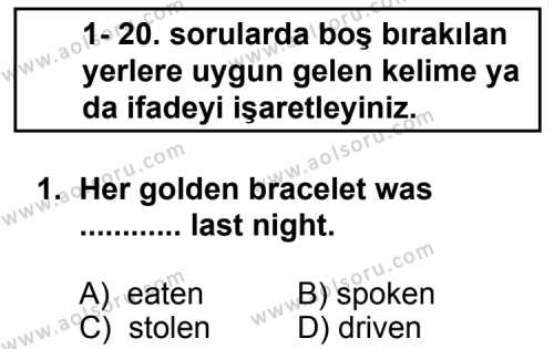 İngilizce 2 Dersi 2011 - 2012 Yılı 2. Dönem Sınavı 1. Soru