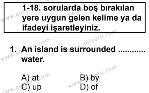 İngilizce 2 Dersi 2012 - 2013 Yılı 3. Dönem Sınav Soruları 1. Soru