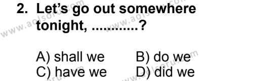 İngilizce 2 Dersi 2013 - 2014 Yılı 2. Dönem Sınav Soruları 2. Soru