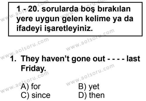 İngilizce 2 Dersi 2015 - 2016 Yılı 2. Dönem Sınav Soruları 1. Soru