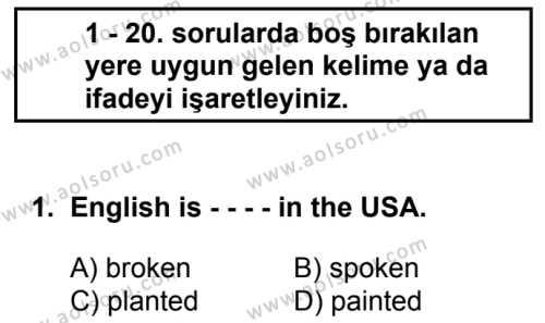 İngilizce 2 Dersi 2016 - 2017 Yılı 3. Dönem Sınav Soruları 1. Soru