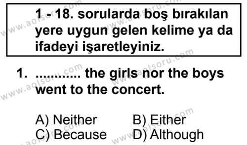 İngilizce 3 Dersi 2011 - 2012 Yılı 2. Dönem Sınavı 1. Soru