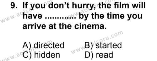 İngilizce 3 Dersi 2012-2013 Yılı 1. Dönem Sınavı 9. Soru