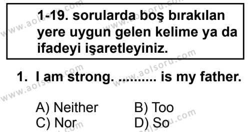İngilizce 3 Dersi 2012 - 2013 Yılı 2. Dönem Sınavı 1. Soru
