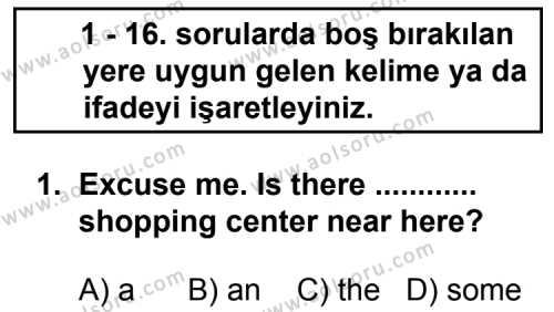 İngilizce 3 Dersi 2013 - 2014 Yılı 2. Dönem Sınavı 1. Soru