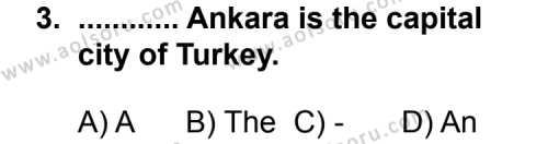 İngilizce 3 Dersi 2013 - 2014 Yılı 3. Dönem Sınav Soruları 3. Soru