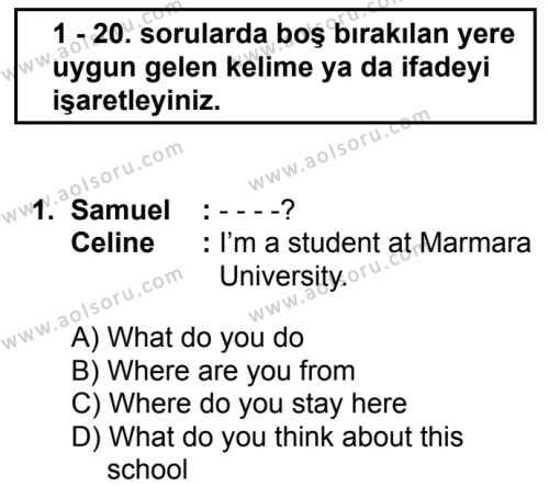 İngilizce 3 Dersi 2019 - 2020 Yılı 2. Dönem Sınav Soruları 1. Soru