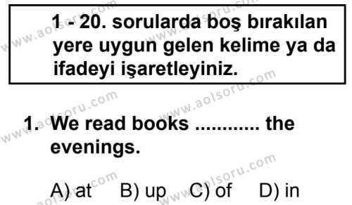 İngilizce 4 Dersi 2013 - 2014 Yılı 3. Dönem Sınavı 1. Soru