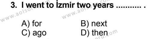 İngilizce 4 Dersi 2013 - 2014 Yılı 3. Dönem Sınavı 3. Soru