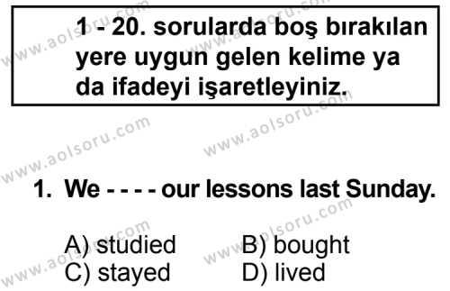 İngilizce 4 Dersi 2015 - 2016 Yılı 3. Dönem Sınavı 1. Soru