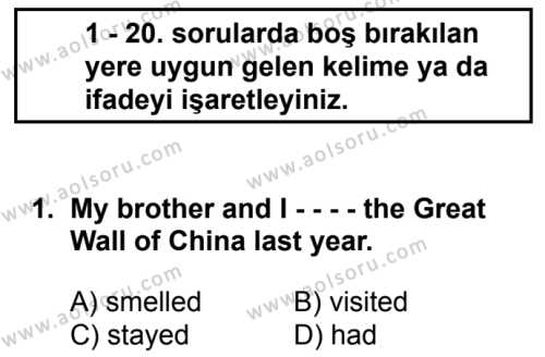 İngilizce 4 Dersi 2016 - 2017 Yılı 3. Dönem Sınavı 1. Soru