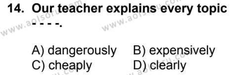 İngilizce 4 Dersi 2017-2018 Yılı 1. Dönem Sınavı 14. Soru