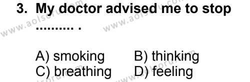 İngilizce 5 Dersi 2011 - 2012 Yılı 1. Dönem Sınav Soruları 3. Soru