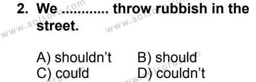 İngilizce 5 Dersi 2011 - 2012 Yılı 2. Dönem Sınavı 2. Soru