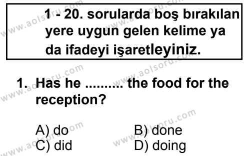 İngilizce 5 Dersi 2012 - 2013 Yılı 3. Dönem Sınav Soruları 1. Soru
