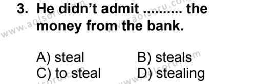 İngilizce 5 Dersi 2012 - 2013 Yılı 3. Dönem Sınav Soruları 3. Soru