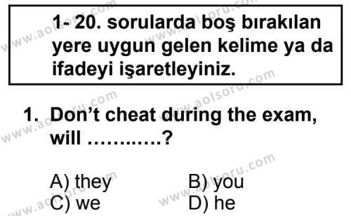 İngilizce 5 Dersi 2013 - 2014 Yılı 1. Dönem Sınav Soruları 1. Soru
