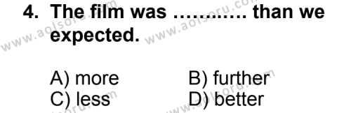 İngilizce 5 Dersi 2013 - 2014 Yılı 1. Dönem Sınav Soruları 4. Soru