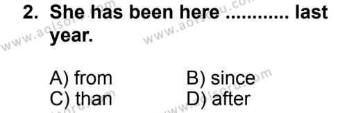 İngilizce 5 Dersi 2013 - 2014 Yılı 2. Dönem Sınav Soruları 2. Soru