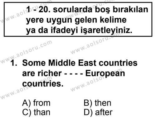 İngilizce 5 Dersi 2014 - 2015 Yılı 3. Dönem Sınavı 1. Soru