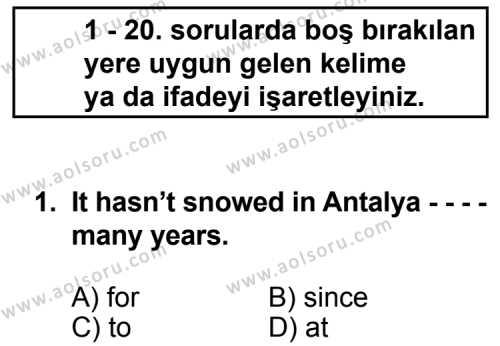 İngilizce 5 Dersi 2014 - 2015 Yılı Ek Sınav Soruları 1. Soru