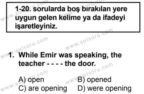 İngilizce 5 Dersi 2017 - 2018 Yılı 1. Dönem Sınav Soruları 1. Soru