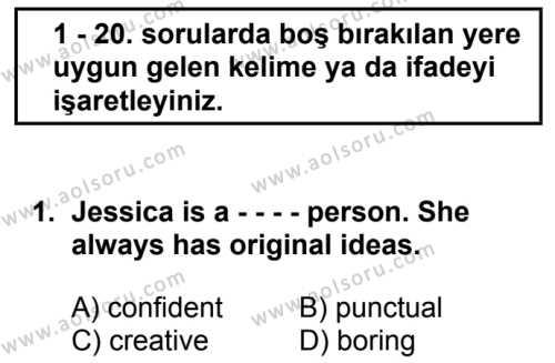 İngilizce 5 Dersi 2019 - 2020 Yılı 2. Dönem Sınav Soruları 1. Soru