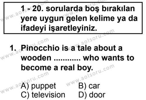 İngilizce 6 Dersi 2011 - 2012 Yılı 1. Dönem Sınav Soruları 1. Soru