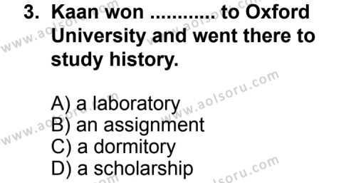 İngilizce 6 Dersi 2011 - 2012 Yılı 1. Dönem Sınav Soruları 3. Soru