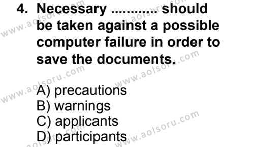 İngilizce 6 Dersi 2011 - 2012 Yılı 1. Dönem Sınav Soruları 4. Soru