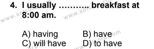 İngilizce 6 Dersi 2011 - 2012 Yılı Ek Sınav Soruları 4. Soru
