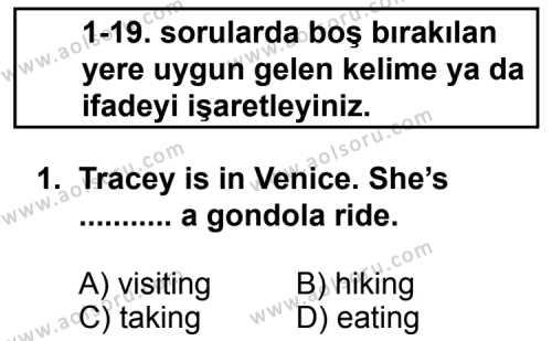 İngilizce 6 Dersi 2012 - 2013 Yılı 2. Dönem Sınavı 1. Soru