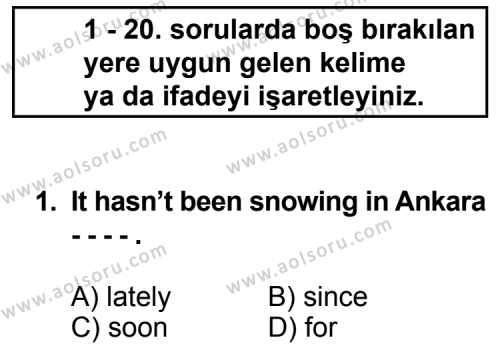 İngilizce 6 Dersi 2014 - 2015 Yılı Ek Sınav Soruları 1. Soru