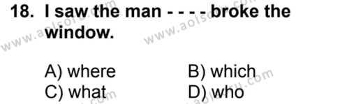 İngilizce 6 Dersi 2017-2018 Yılı 1. Dönem Sınavı 18. Soru